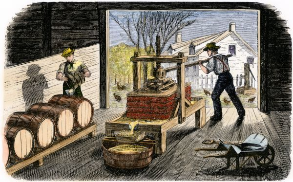 Farmers making apple cider 1800s farmers pressing for Painting jobs nyc